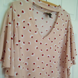 Worthington Woman Floral Blouse With Bell Sleeves